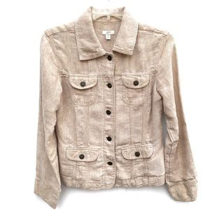 J.Jill | 100% Snap Button Linen Jacket XSP